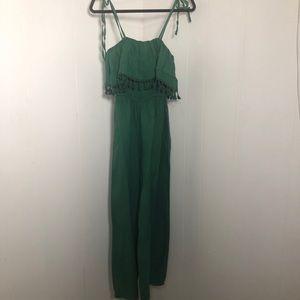 Womens Green Linen Summer Stretchy Jumpsuit.